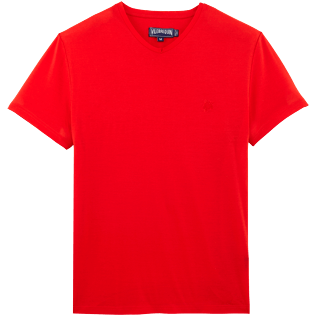 Men Tee-Shirts Solid - Solid V-neck Mercerized cotton T-Shirt, Poppy red front