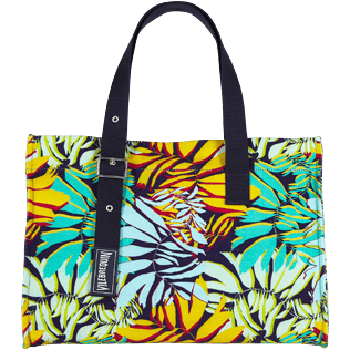 Others Printed - Large Beach Bag Jungle, Midnight blue back
