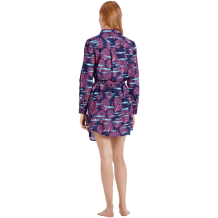 Women Others Printed - Women Cotton Voile Shirt Dress Coral & Fish, Navy backworn