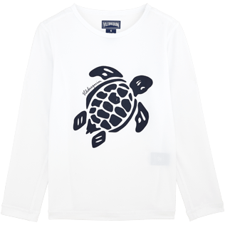 049 Printed - Kids Long Sleeves Rashguards Solid, White front