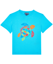 Boys Others Printed - Boys Organic Cotton T-shirt Tortue Multicolore, Azure front