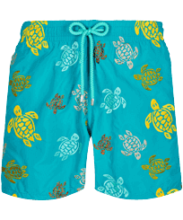Men Classic Embroidered - Men Swim Trunks Embroidered Ronde Des Tortues - Limited Edition, Ming blue front