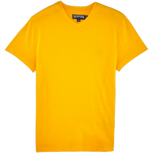 Men Others Solid - Solid V-neck Mercerized cotton T-Shirt, Turmeric front