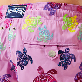 Men Classic / Moorea Embroidered - Men Swim Trunks Embroidered Ronde des Tortues Aquarelle - Limited Edition, Pink berries supp1