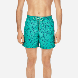 Men Embroidered Embroidered - Men Swimtrunks Embroidered Hypnotic Turtles - Limited Edition, Veronese green supp1