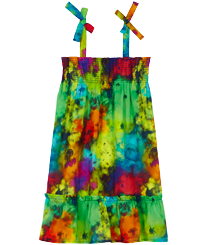 Girls Others Printed - Girls Cotton Dress Holi Party, Batik blue front