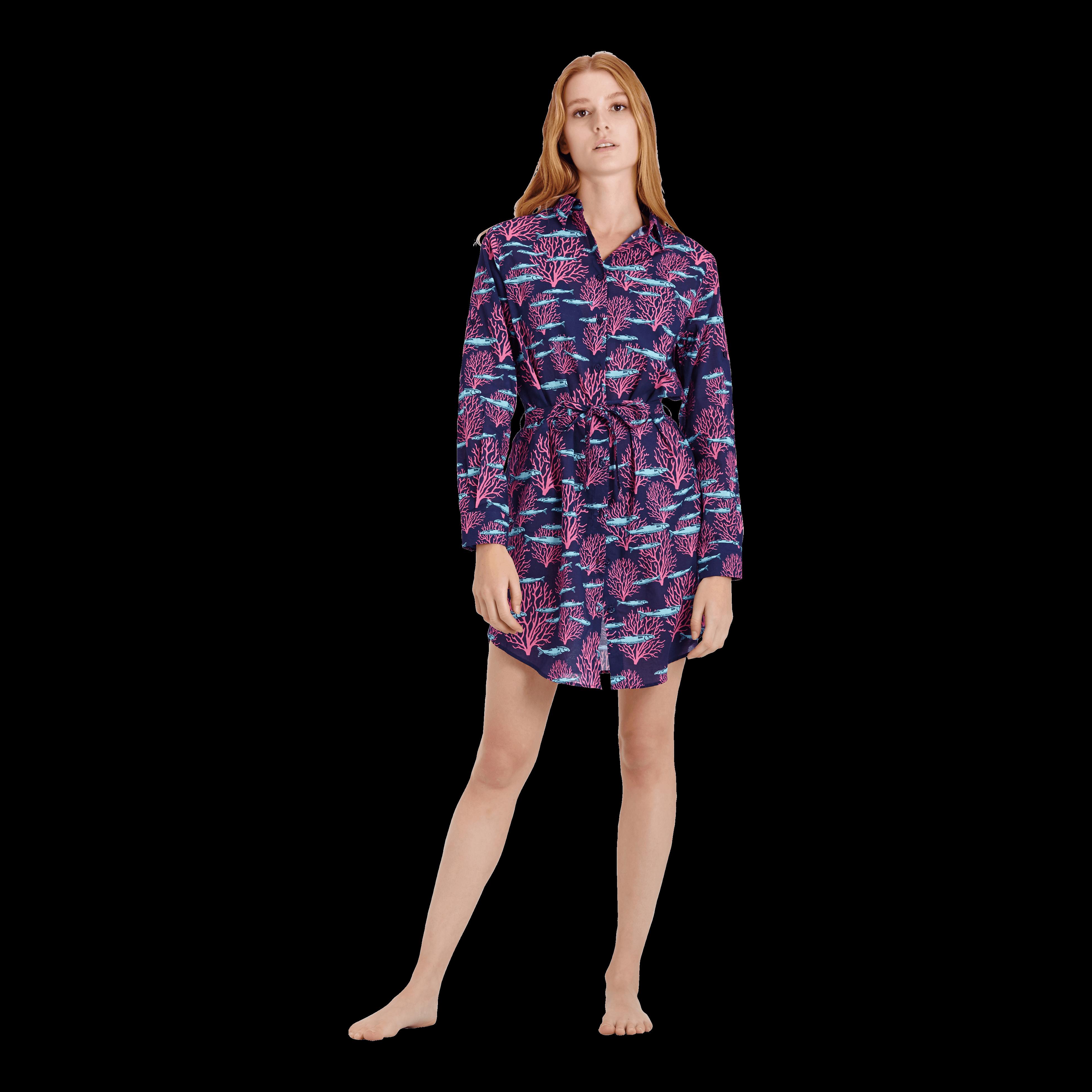 Vilebrequin Women Cotton Voile Shirt Dress Coral & Fish In Blue