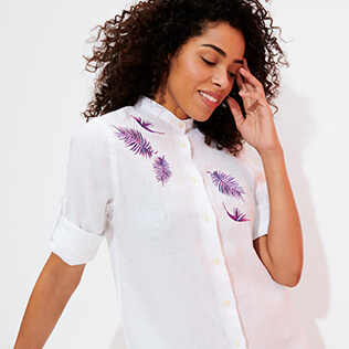 Women Others Embroidered - Women Linen Shirt Dress Embroidery Madrague, White supp2