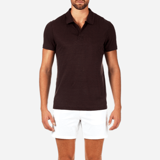Men Polos Solid - Solid Linen jersey polo, Chocolate supp1