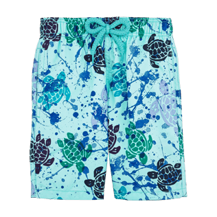 Boys Classic / Moorea Printed - Ronde des Tortues Tachiste Swim Shorts, Lagoon front