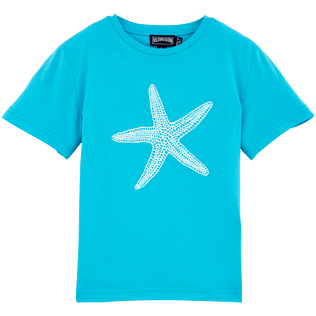 Boys Tee-Shirts Printed - Glow in the dark Starlettes Round neck Tee Shirt, Azure front