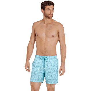 Men Classic Embroidered - Men Swimwear Embroidered Perspective Fish - Limited edition, Lagoon frontworn