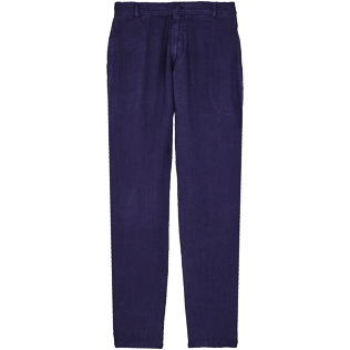 Men Others Solid - Men straight Linen Pants Solid, Midnight blue front