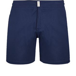 Men Fitted Solid - Men Short and Fitted Stretch Swimwear Solid, Navy front