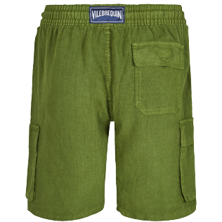 Men Others Solid - Men Cargo Linen Bermuda Shorts Solid, Sycamore back
