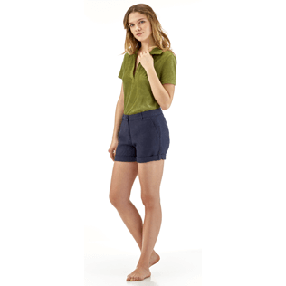 Women Others Solid - Solid Linen Bermuda shorts, Navy supp1