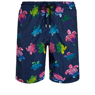 Hombre Clásico largon Estampado - Men Swimwear Long Ultra-light and packable Ronde des Tortues Aquarelle, Azul marino front