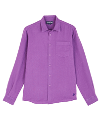 Men Others Solid - Men Linen Shirt Solid, Orchid front
