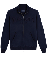 Men Others Solid - Men Cotton Front Zip Sweatshirt, Navy front