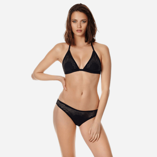 Women Classic brief Solid - Women midi brief bikini Bottom Pois Lazer Cut, Black frontworn