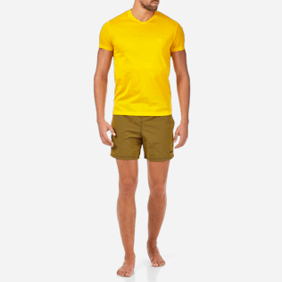 Men Others Solid - Solid V-neck Mercerized cotton T-Shirt, Turmeric frontworn