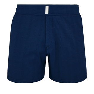 Men Flat belts Solid - Men Swim Trunks Short Flat Belt Stretch Prince de Galles, Midnight blue front