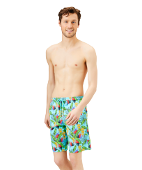 Men Long classic Printed - Men Long Stretch Swim Trunks Go Bananas, Lazulii blue frontworn