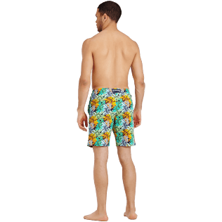 Homme Coupe courte Imprimé - Maillot de bain Homme Long Stretch Jungle, Bleu nuit backworn