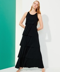 Women Others Solid - Women Long Frilly Dress Solid, Black frontworn