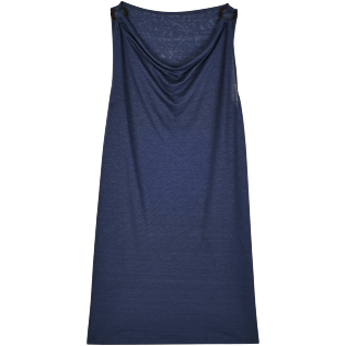 Women Dresses Solid - Women Cowl neck Linen Jersey Dress Solid, Navy front