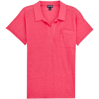 Women Others Solid - Women Linen Polo Shirt Solid, Hibiscus front