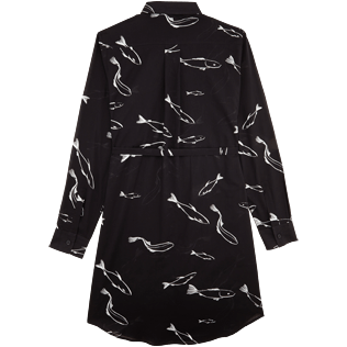 Women Dresses Printed - Women Long Cotton Voile Shirt Dress Fish Dance, Black back