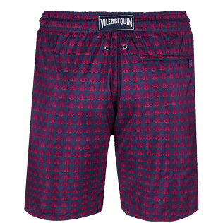 Men Long classic Printed - Men Swimtrunks Long Ultra-light and Packable Perspective Fish, Plum back