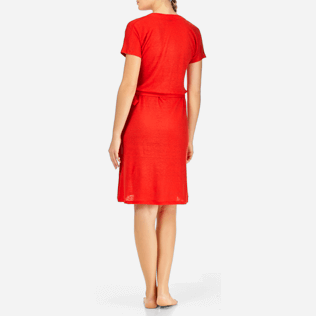 Women Dresses Solid - Solid Linen Wrap-Around Dress, Poppy red backworn