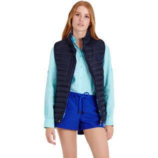 Others Printed - Unisex Sleeveless Down Jacket Herringbones Turtles, Navy supp3