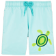Boys Classic / Moorea Embroidered - Boys Swimtrunks Placed Embroidery Mosaic Turtles, Lagoon front