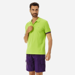 Men Others Solid - Men Cotton Pique Polo Shirt Solid, Cactus frontworn