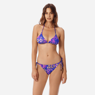 Women Classic brief Printed - Women brief to be tied bikini Bottom Phuket, Sea blue frontworn