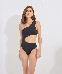 Women One piece Solid - Women One piece Swimsuit Solid, Black frontworn