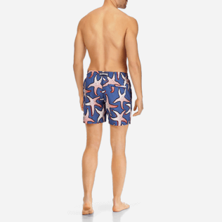 Men Classic / Moorea Printed - Men Lightweight and Packable Swimtrunks Starfish Art, Neptune blue backworn
