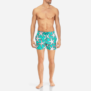 Men Stretch classic Printed - Men Stretch Swimtrunks Starfish Art, Veronese green frontworn
