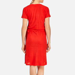 Women Dresses Solid - Solid Linen Wrap-Around Dress, Poppy red supp2