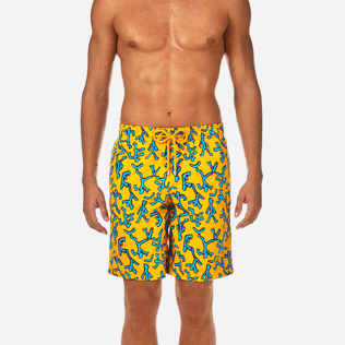 Men Long classic Printed - Danse du Feu Long Cut Swim shorts, Turmeric supp1