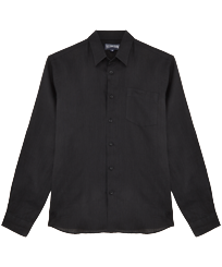 Men Others Solid - Men Linen Shirt Solid, Black front