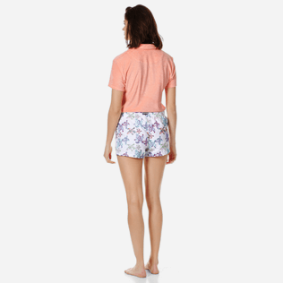 Women Others Embroidered - Women embroidered Swim Short Watercolor Turtles, White backworn