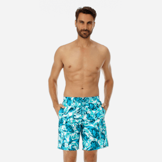 Men Long classic Printed - Men Long swimtrunks Double Focus, Mint frontworn