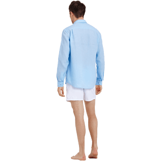 Men Others Solid - Men Linen Shirt Solid, Sky blue backworn