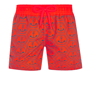 Boys Others Printed - Boys Swim Trunks Ultra-Light and Packable Ancre de Chine Fluo, Neon orange front