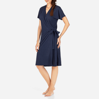 Women Dresses Solid - Solid Linen Wrap-Around Dress, Navy frontworn