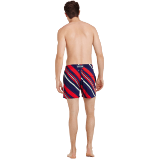 Uomo Classico stretch Stampato - Costume da bagno stretch uomo Diagonal Stripes, Prugna backworn